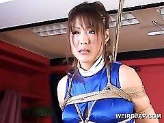 Roped asian preggie sex slave gets huge mounds rubbed