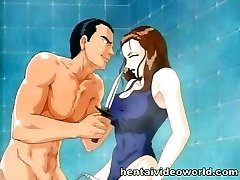 Showering anime chick gets wielded