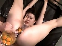 Extreme Japanese AV hardcore sex leads to raw egg butt-plug