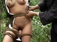 Japanese army girl tied to tree Trio