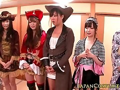 Japanese cosplay babes squirt in fucky-fucky