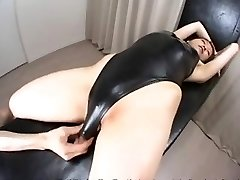 Chinese damsel with swimsuit and lotion
