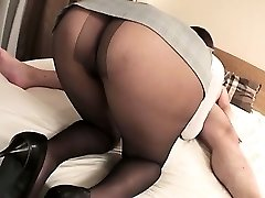 Mai Asahina takes on a xxl dick in her pantyhose riding