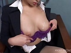 Chinami Sakai japanese secretary gives a super hot blowjob