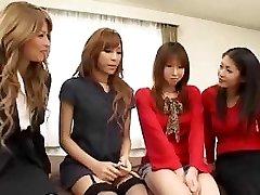 Pretty Asian transgirls orgy