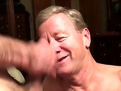 Old Fag Deep-throater Gets Cum Facial and Eats Cum
