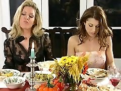 Girl-on-girl dinner and spanking soiree