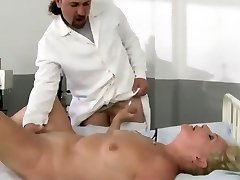 Therapist gives his patient a thorough check up