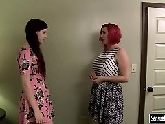 Chubby redhead female wears belt dick to fuck tranny Chelsea Poe