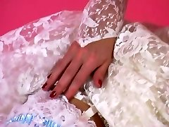 An Erotic Tease 001-A Brunette Hair Bride Peels Off Out of Her Suit