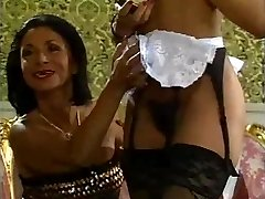 Mature lady and her ebony maid doing a guy - vintage