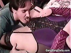 Pregnant mom deep-throats many hard cocks part5