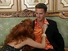 Redhead biotch Eva Falk in vintage orgy
