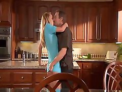 Porn stars going at it and fucking on the kitchen counter