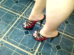 Red and black heels