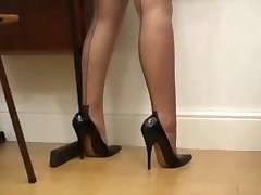 Schoolgirl in stockings and full uniform