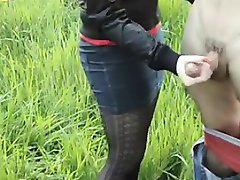 Russian Gives A Nice Handjob Outdoors