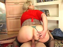Russian busty maid fucked by young guy at home