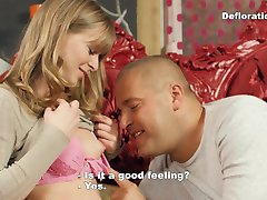 Defloration of Irina - a big guy seduces a blonde virgin