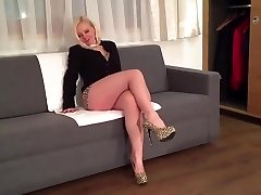 Blonde sexy leg mature milf mom in high heels