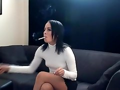 Naughty smoking movie with brunette, couple vignettes 1