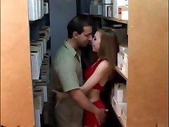 Hot busty redhead does some hot sucking and fucking at work