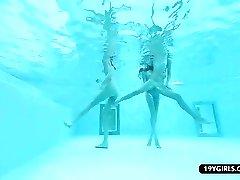 Bikini sunbathing lesbian teens pool threesome play