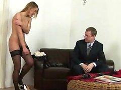 Busty blonde secretary spanked by boss