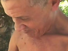Ugliest Old Man fucks fat Mature in woods
