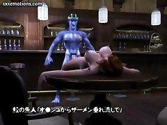 3D animato ragazza con tette enormi viene scopata da un grande blu cazzo