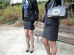 2 adolescentes sexy secretários vintage meias & garterbelt