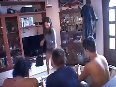 skinny young brunette gangbang