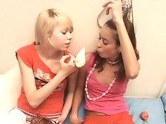 Natasha Shy and girlfriend play with nipple pump