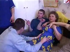 Russian Granny With 5 Boys