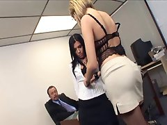 Bitchy office secretaries turns into a threesome