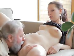 Teen gets fucked by an old man while her boyfriend watches
