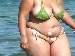 BBW Bikini - Iskrene rit - Plaža Plen voyeur - Vohunjenje Rit