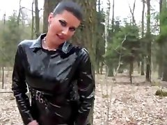 Latex slut sucks and fucks POV style