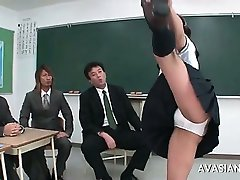 Asian gymnastic schoolgerl is getting wet