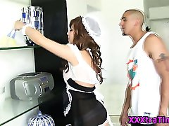 Teen french maid interracial blowjob