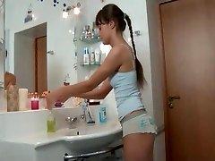 Super-cute slim russian girl fucked in the bathroom