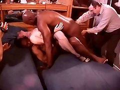 White Hotwife in a Room Full of Dark-hued Bulls