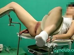 naked girl on reception at the gynecologist (gyno)