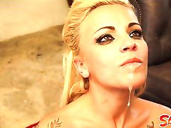 Tattoo blonde Jordanne Kali fisting and sucking