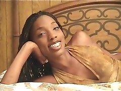 Ebony teen jerks & sucks white cock with reward