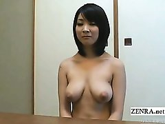 Subtitled nudist Japanese housewife vacuums apartment