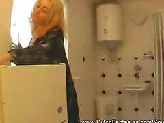 Dutch MILF Gets Fucked In Bathroom