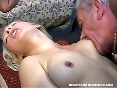 Two old men screwing youthfull hot nymphs