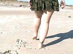 Clignotant chatte sur une plage publique