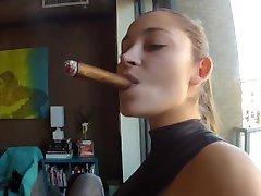 DD smoking cigar and strapon full!